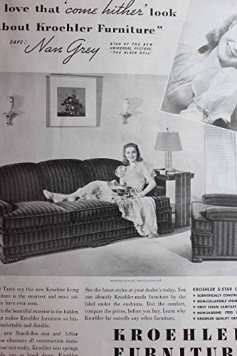 Advertisement with Nan Grey (The Black Doll) for Kroehler Furniture 'I Love That 'come Hither' Look about Kroehler Furniture'