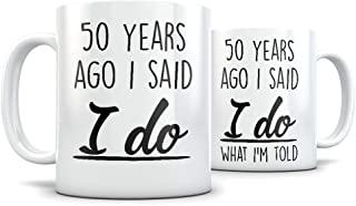 50th Anniversary Gift for Couple - Funny 50 Year Wedding Anniversary for Men and Women - Him and Hers Marriage Coffee Mug Set I Love You for Parents or Friends