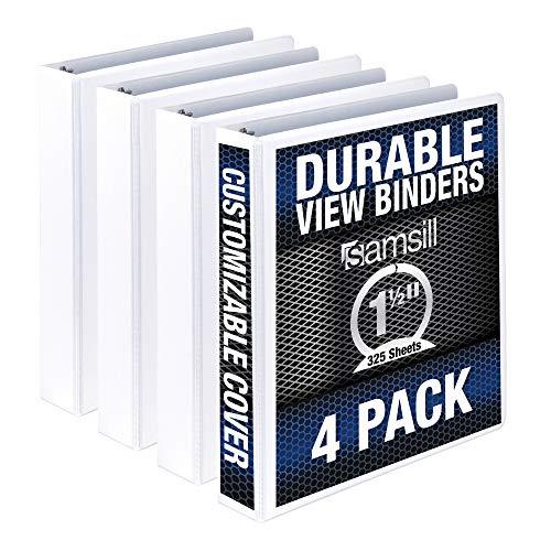 Samsill Durable 1.5 Inch Binder / White Round Ring Binder / Customizable Clear View Binder / Bulk Binder 4 Pack / White 3 Ring Binder / 1.5 Inch Binder