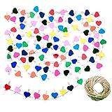 JZK 100 x Pinzas pequeas Madera con corazn de Color + 30m Cordel de Yute, Mini Pinzas Decorativas Foto Clips para Manualidades decoracin de Pared de Fotos