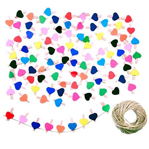 JZK 100 x Pinzas pequeñas Madera con corazón de Color + 30m Cordel de Yute, Mini Pinzas Decorativas Foto Clips para Manualidades decoración de Pared de Fotos