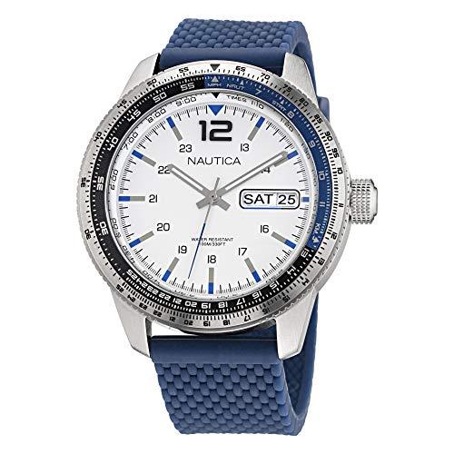 Nautica Men's Stainless Steel Quartz Silicone Strap, Blue, 22 Casual Watch (Model: NAPP39F08)
