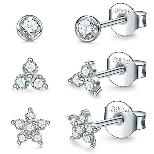 Pendientes de tuerca de plata de ley para mujer, 3 pares de pequeños aretes de cartílago de circonita cúbica chapada en oro blanco (3 mm/4 mm/5 mm)