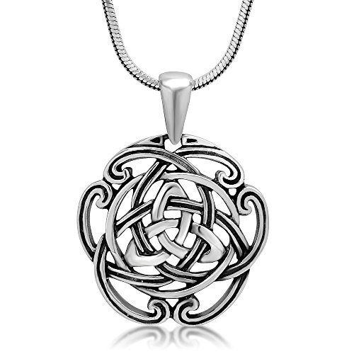 Chuvora 925 Sterling Silver Triquetra Trinity Celtic Knot Open Round Pendant Necklace, 18 inches