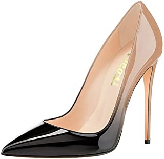 COLETER Pointy Toe Pumps for Women,Patent Gradient Animal Print High Heels Usual Dress Shoes