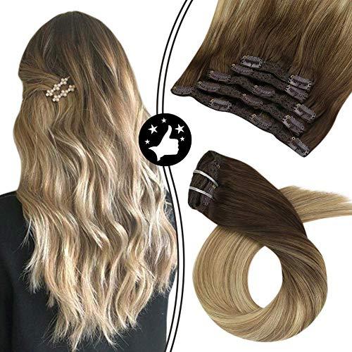 Moresoo 20 pulgadas Extensiones de Cabello Humano Clip Pelo Largo Hair Extensions Clip #6 Marrón Medio a #14 Rubio Dorado Oscuro con #26 Rubia Clip Extensiones 7 Piece 100 grams