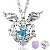 Pendentif Bijoux Collier Coeur Aile d'ange Médaillon d'argent Avec 3 billes carillon