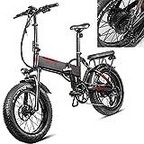 Bicicleta eléctrica Velocidad máxima de conducción 45 km/h Bicicletas eléctricas de montaña Plegable Bici Plegable Iones de Litio 13.6AH Freno Frenos de Disco mecánicos, Negro