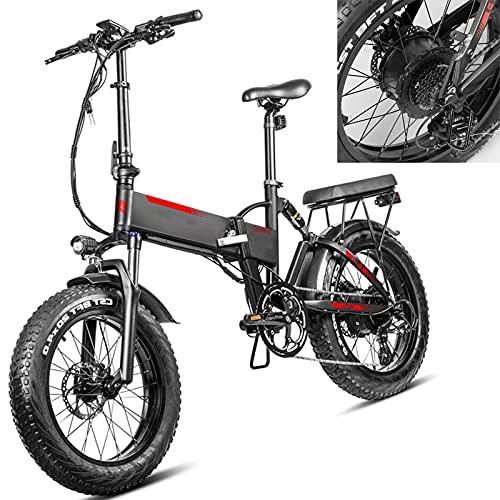 Bicicleta electrica Plegable Velocidad máxima de conducción 45 km/h Bicicleta montaña Adulto Plegable Bicicleas Iones de Litio 13.6AH Freno Frenos de Disco mecánicos, Negro