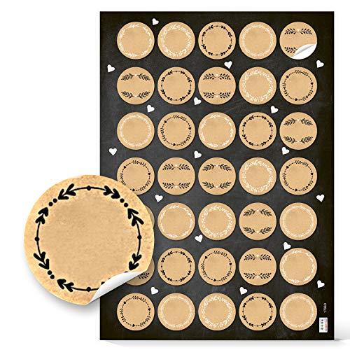 Logbuch-Verlag 35 kleine runde blanko Kraftpapier Aufkleber natur braun beige 3,2 cm Namensaufkleber kleines Geschenk Gastgeschenk Weihnachten Adventskalender Zahlen