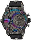Diesel SBA Gunmetal Dial SS Black Leather Chrono Quartz Male Watch DZ7270