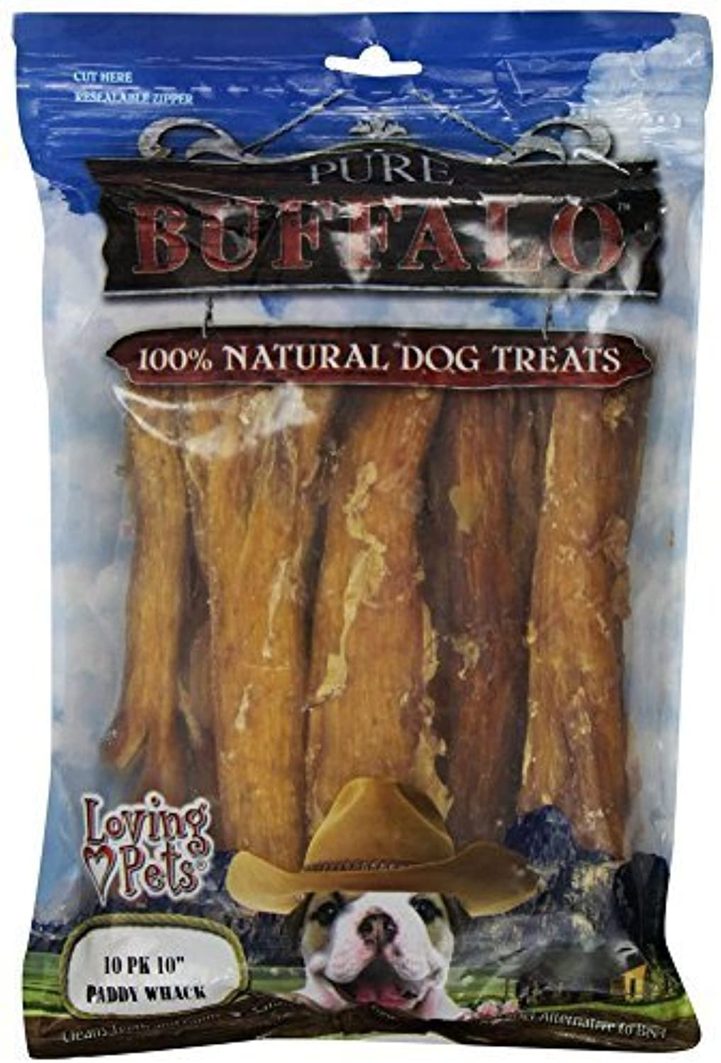 Loving Pets Pure Buffalo 10Inch Backstrap Tendon Dog Treat, [Set of 2] by Loving Pets