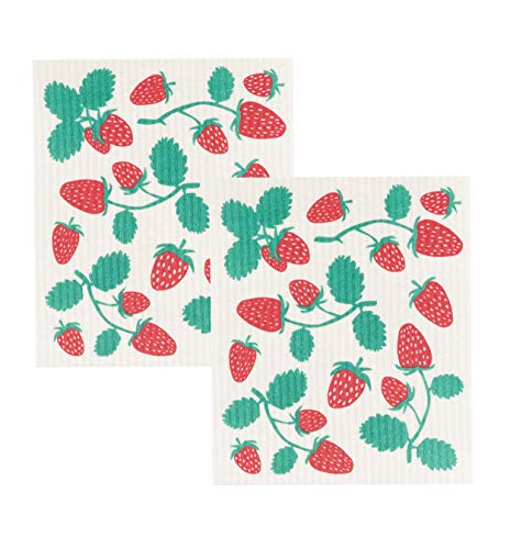Now Designs Swedish Dishcloth (Set of 2), Strawberries 2 Count