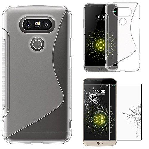 ebestStar - kompatibel mit LG G5 Hülle H850, G5 Dual, G5 SE, G5 Lite TPU S-line Style Silikongel Handyhülle, Schutzhülle Hülle Cover, Transparent + Panzerglas Schutzfolie [G5: 149.4x73.9x7.7mm, 5.3'']