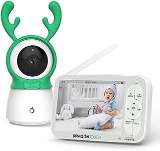 Dragon Touch Vigilabebés Inalámbrico 5 720P HD Bebé Monitor Inteligente Cámara Vigilancia Remoto Pan-Tilt-Zoom Visión Nocturna Sensor de Temperatura Audio Bidireccional Ampliable a 4 Camera(Babycare)