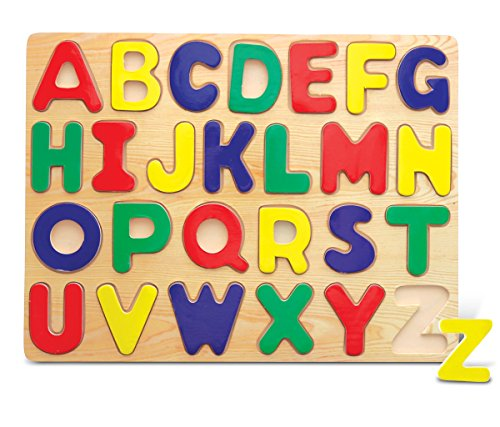 Puzzled Letters Raised Wooden Puzzle - Easy To Play Cute Alphabet Wood Puzzle, Fun Pattern Play, Matching Pieces & Shapes Puzzle Toy, Educational Brain Teaser Puzzle Game & Learning Activity for Kids