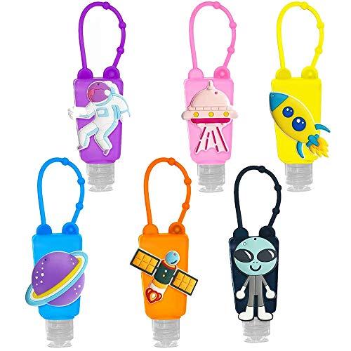 6PCS Portable Travel Bottle, Kids Silicone Travel Bottle,Cartoon Hand Sanitizer Bottle,Portable Hand Sanitizer Holder,Silicone Hand Sanitizer Container,for School, Travel, Outdoor(Random Color)