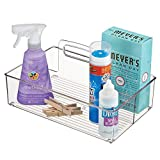 mDesign Plastic Portable Laundry Storage Tote with Carrying Handle for Detergent, Pods, Fabric Softener, Dryer Sheets, Clothes Pins, Household Cleaning Products and Accessories, Medium - Clear