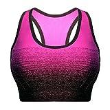 Libella Mujer Sujetador Deportivo Push Up Bustier con Amplio Correas Fitness Yoga Camisetas Sin Mangas 3738 Rosa L/XL
