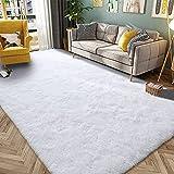 HQAYW Modern Fluffy Area Rug, Shaggy Rugs for Bedroom Living Room Ultra Soft Shag Fur Carpets for Kids Girls Nursery Plush Fuzzy Rug Cute Home Decor Rug, 5' x 8', White