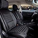 Auto Sitzbezüge, Schonbezüge, Sitzauflagen, Set für Vordersitze Rücksitze, Kunstleder Komplettset passend für SsangYong Rexton ab 2001 in Farbe Schwarz/Weiß