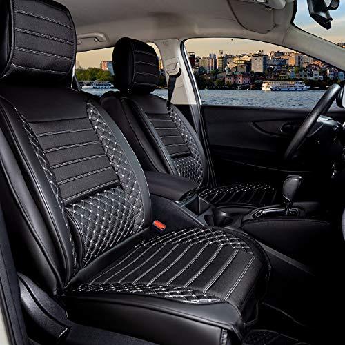 Set completo di coprisedili per auto, in ecopelle, per Daihatsu Terios dal 2006 in poi, colore nero/bianco
