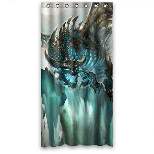 DOUBEE Haltbarer Drachen Dragon Wasserdicht Polyester Duschvorhang Shower Curtain 90cm x 183cm