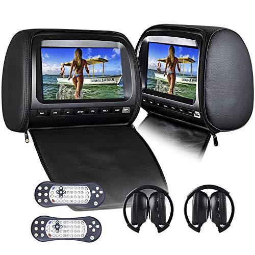 2x9inch Appui-tête Lecteur DVD de Voiture Backseat Moniteur vidéo 1080p avec DVD USB SD IR et FM 2pcs Casque IR Gratuit