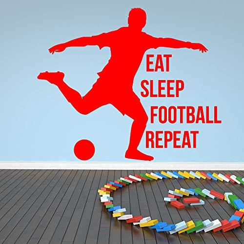 Ajcwhml Essen Sie Schlaf Fußball wiederholen Sport Zitat Wandaufkleber Kunst Aufkleber Dekoration 50x42cm
