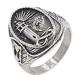 QAZXCV Elegante Herren-Ringe Edelstahl Viking Leuchtturm Herren Titan Stahl Ring,10
