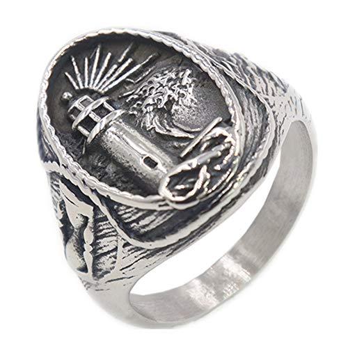 QAZXCV Elegante Herren-Ringe Edelstahl Viking Leuchtturm Herren Titan Stahl Ring,13