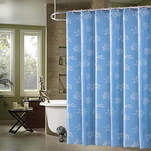 WANG Anti-Mehltau-Duschvorhang, verdickter wasserdichter und Anti-Mehltau-Polyester-Duschvorhang, 12 Kunststoffhaken D- 180 * 200cm