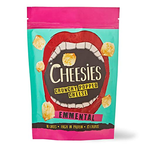 Palline Croccanti di Snack al Formaggio Cheesies, Emmental. Senza Carboidrati, ad Alto Contenuto di Proteine, Senza Glutine, Vegetariano, Keto. 9 Sacchetti da 60g.