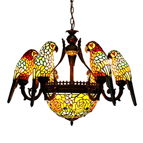 Makernier Vintage Tiffany Style Stained Glass 6 Arms Parrots Chandelier with Inverted Ceiling Pendant Fixture