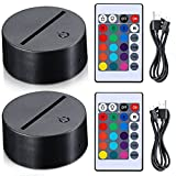 3D Night LED Lamp Base 16 Color Illusion LED Lamp Battery or USB Operated Remote Control Light Stand Base for Christmas, Birthday (Black, 2)