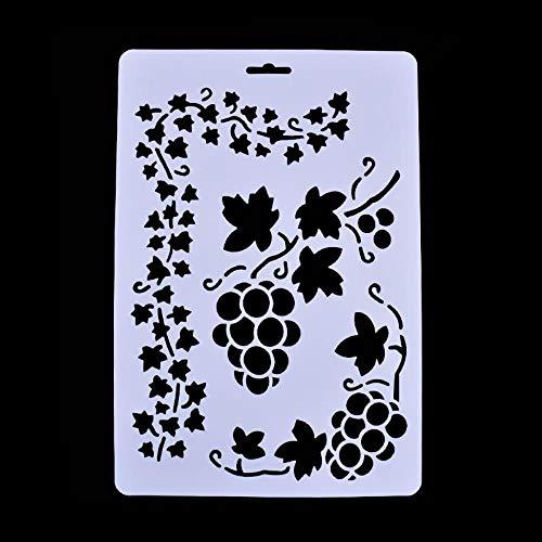MZW DIY Spray Schablone geschichtet Vorlage Maskierung Collage Briefmarken geprägte Papier Karte Weinblätter dekorativ