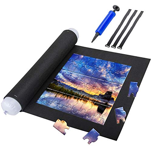 Puzzle Mat Roll Up - Portable Jigsaw Storage Felt Pad Fits up to 1,500 Pieces, 46 inch x 26 inch Storage Saver Mat for Jigsaw Puzzle Player