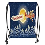LULUZXOA Gym Bag Printed Drawstring Sack Backpacks Bags,Christmas,Santa Claus Airline Theme Vintage Plane Full Moon Snow Covered Trees,Dark Blue Marigold Red Soft Satinr