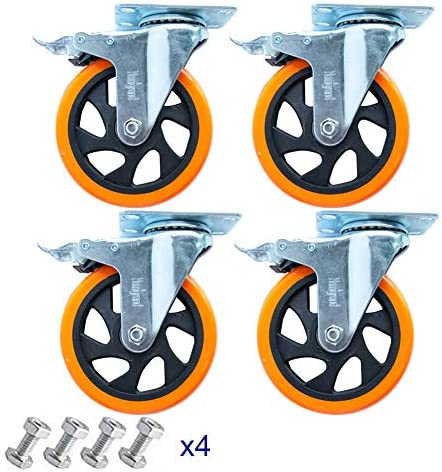 5 Swivel Casters Wheels with Screw Safety Dual Locking and Polyurethane Foam No Noise Wheels product image
