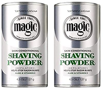 SoftSheen-Carson Magic Skin Conditioning Shaving Powder, Depilatory. With Aloe & Vitamin E. Helps Stops Razor Bumps. 4.5 oz / 127g (Pack of 2) from SoftSheen-Carson