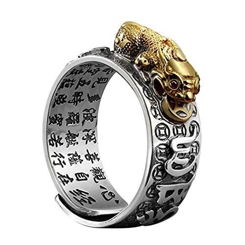 Holibanna Anel de cobre Fengshui PIXIU MANI Amuleto Proteção da sorte Riqueza Aberto Anel de Medicina Tibetana Joia Budista para Homens
