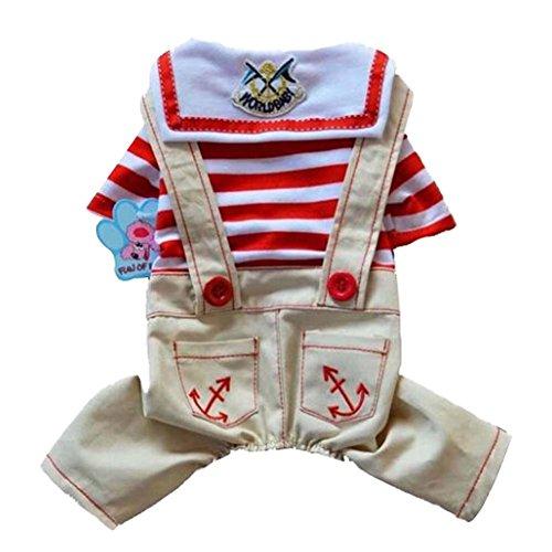 Petite taille Pet Apparel Red Stripe style Chiens Vêtements Costume Khaki Pant