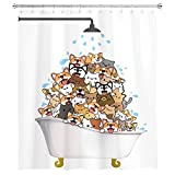 SVBright Cats and Dogs Shower Curtain Raining Kids Cartoon Corgi Cute Animal 60Wx72L Inch Hilarious Pets Playing Water 12 Pack Hooks Polyester Waterproof Fabric Bathroom Bathtub Panels