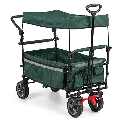 Waldbeck Easy Rider - Carretilla de Mano, Carro Carga Pesada con Techo, hasta 70 kg belastbar, Funda de Poliester 600D, 2 Cinturones de Seguridad niños, Plegable, Verde