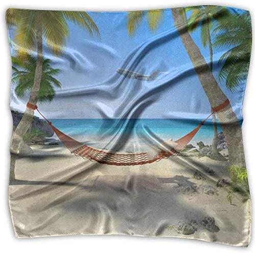 Tropisch strand met hangmat opknoping van palmbomen vrouwen elegante vierkante zakdoek Polyester hals hoofd sjaal
