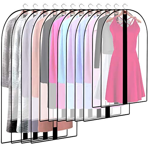 munloo 12 Pieces Garment Bag, Garment Covers Transparent with Zipper, Dress Moth-Proof Dust Cover for Clothes Storage Cupboard (Black)