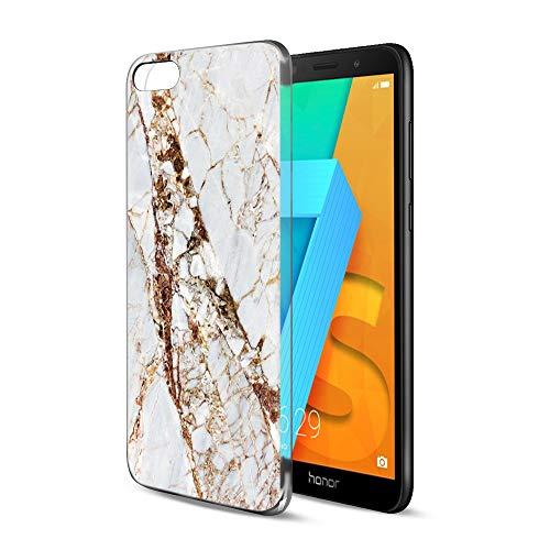 Pnakqil Huawei Honor 7S / Y5 2018 Hülle Clear TPU Weich Handy Schutzhülle with Design für Mädchen, Silikon Back Cover Handytasche Ultra dünn Slim Schale Bumper für Honor 7S / Y5 2018, Marmor 5