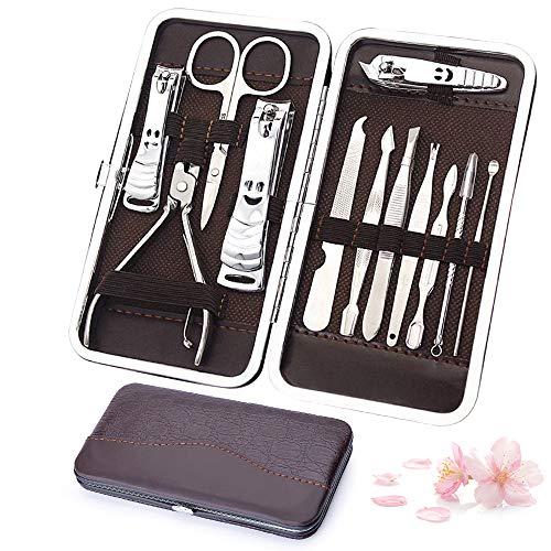 Ohiyoo Set Tagliaunghie, Professionale Set Manicure Tagliaunghie Set, Kit Cura Unghie Donna Manicure e Pedicure Attrezzi Kit Professionale, 12 Pezzi con Box.