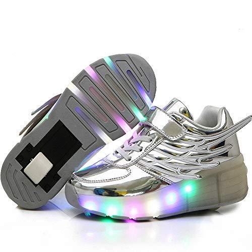 FZ FUTURE Blinken Skateboardschuhe, Roller Skate Schuhe Sneakers, LED Rollschuhe mit Räder, Flügel-Art Sneaker, für Kinder Mädchen Junge Erwachsene,Silber,29