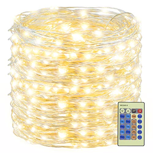 Decute 500LED Fairy String Lights Warm White Christmas Lights 164ft Silver Wire w/Remote, Firefly Lights Starry Light for DIY Christmas Tree Costume Wedding Party Table Centerpiece Decor